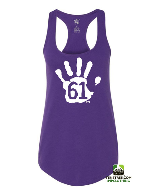 PC RUH Hand61 Ladies Purple Scalloped Racerback Tank