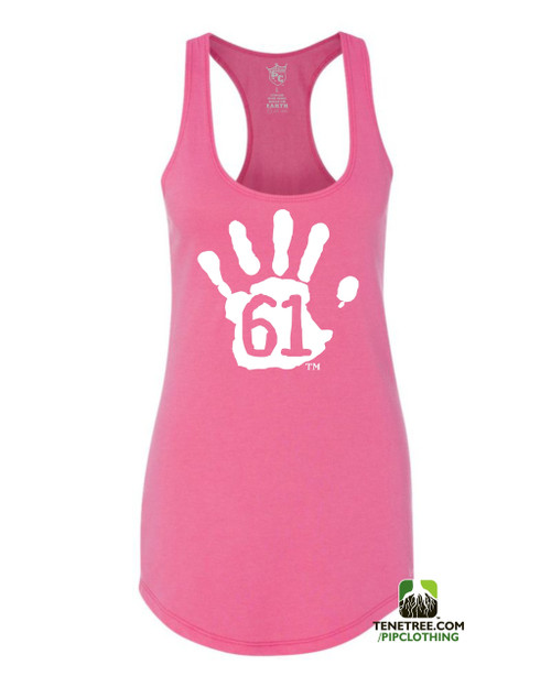 PC RUH Hand61 Ladies Pink Scalloped Racerback Tank