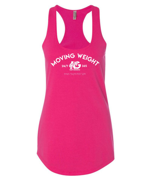 Keep Grinding Apparel | Moving Weight - Raspberry Racerback Slim-Fit Tank
