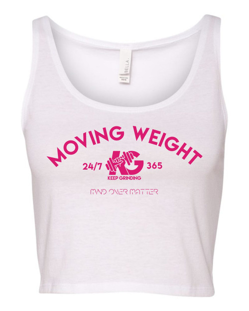 Keep Grinding Apparel | Moving Weight - White Crop Tank
