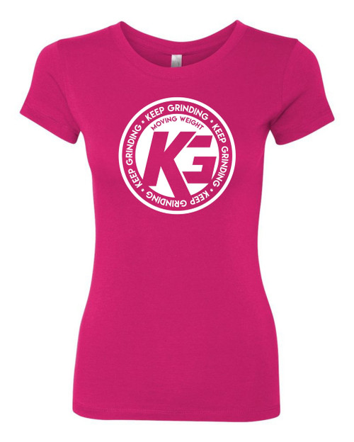 Keep Grinding Apparel | Circa Art - on a Hot Pink 100% Cotton Slim-Fit Ladies Tee