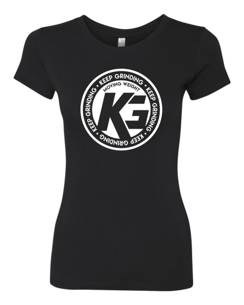 Keep Grinding Apparel | Circa Art - on a Black 100% Cotton Slim-Fit Ladies Tee