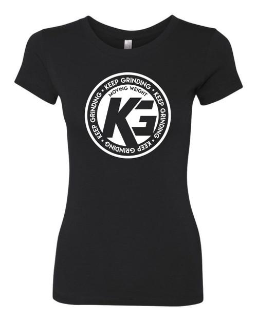 Keep Grinding Apparel | Circa Art - on a Black 100% Cotton Slim-Fit Ladies Tee