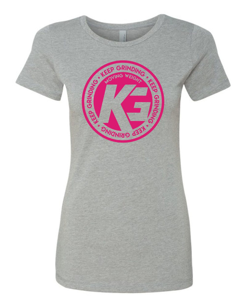 Keep Grinding Apparel | Circa Art - on a Heather Poly Cotton Slim-Fit Ladies Crew