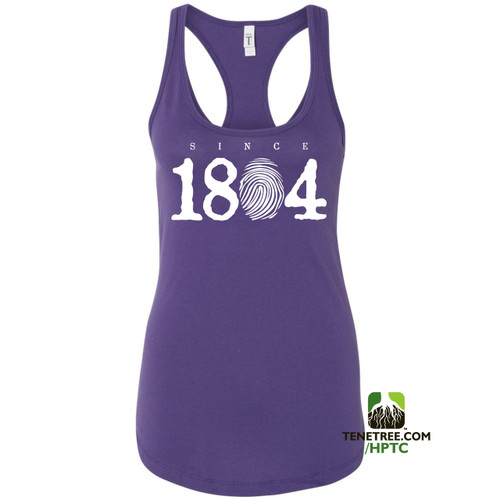 Hispaniola Port & Trade Company Since 1804 Ladies Racerback Tank Top Purple White