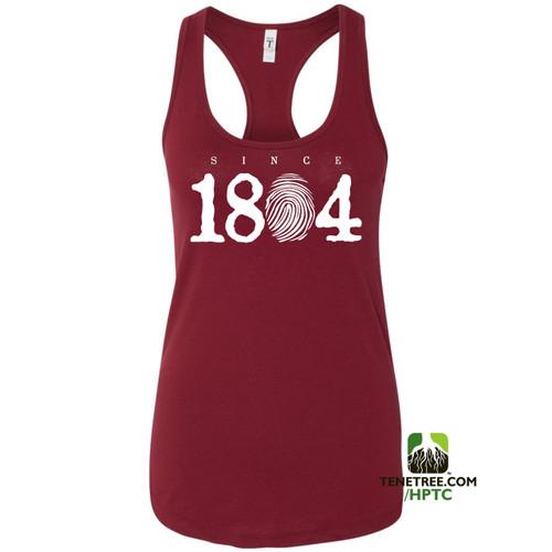 Hispaniola Port & Trade Company Since 1804 Ladies Racerback Tank Top Cardinal White