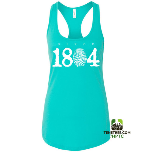 Hispaniola Port & Trade Company Since 1804 Ladies Racerback Tank Top Tahiti Blue White