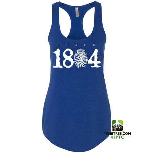 Hispaniola Port & Trade Company Since 1804 Ladies Racerback Tank Top Royal Blue White