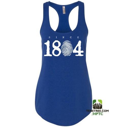 Hispaniola Port & Trade Company Since 1804 Ladies Racerback Tank Top Royal Blue White