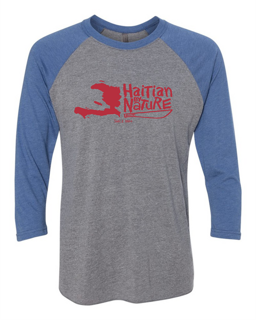 HISPANIOLA PORT & TRADE COMPANY HBN MAP TRIBLEND RAGLAN BLUE