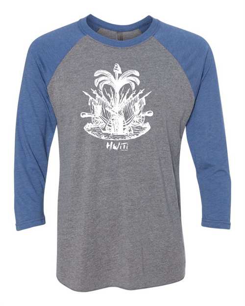 HISPANIOLA PORT & TRADE COMPANY PALMA TRIBLEND RAGLAN BLUEGREY WHITE