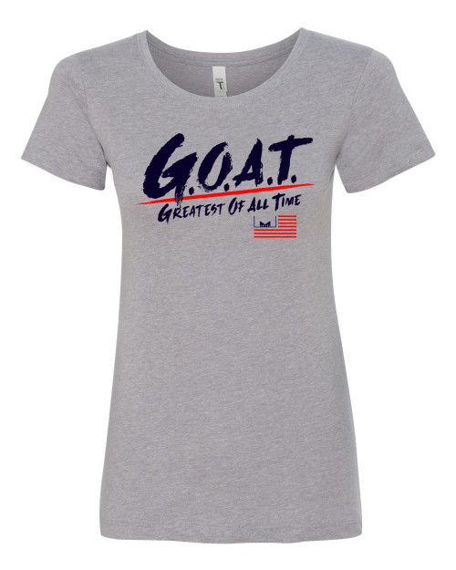 Marvelous Artz - GOAT Pride Heather Grey Red Navy Ladies Crew