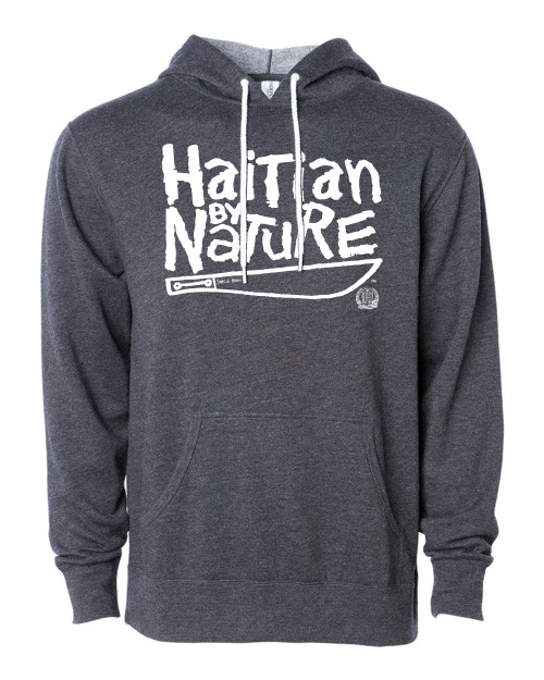 Hispaniola Port & Trade Company | H.B.N Since 1804 Unisex Dark Heater Grey White Hoodie