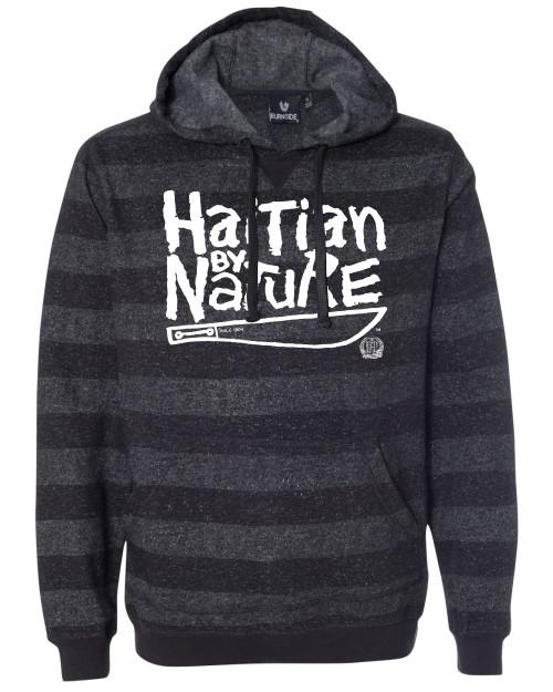 Hispaniola Port & Trade Company | H.B.N Since 1804 Unisex Black Charcoal White Striped Hoodie