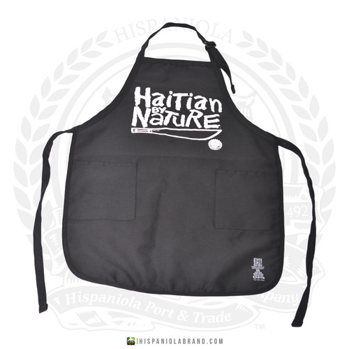 "Hispaniola Port & Trade Company | ""Haitian By Nature"" Black White Apron"
