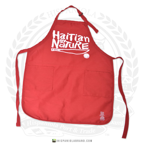 "Hispaniola Port & Trade Company | ""Haitian By Nature"" Red White Apron"