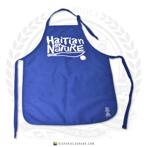 "Hispaniola Port & Trade Company | ""Haitian By Nature"" Royal Blue White Apron"