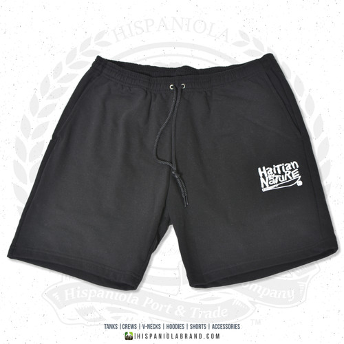 "Hispaniola Port & Trade Company | ""Haitian By Nature"" Black White Premium Unisex Cotton Fleece Shorts"
