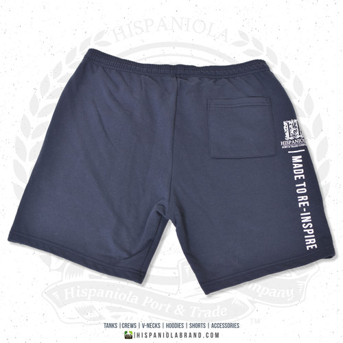 "Hispaniola Port & Trade Company | ""Haitian By Nature"" Navy White Premium Unisex Cotton Fleece Shorts"