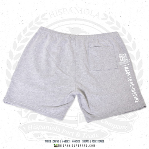 "Hispaniola Port & Trade Company | ""Haitian By Nature"" Grey White Premium Unisex Cotton Fleece Shorts"
