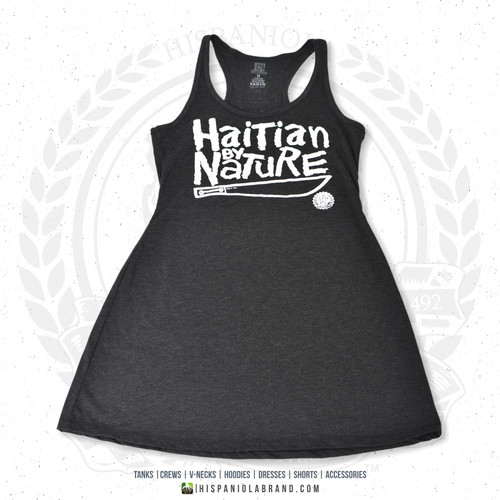 "Hispaniola Port & Trade Company | ""Haitian By Nature"" Heather Black White Premium Tri-blend Summer Dress"