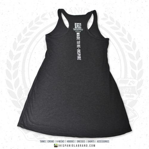 "Hispaniola Port & Trade Company   ""Haitian By Nature"" Heather Black White Premium Tri-blend Summer Dress"
