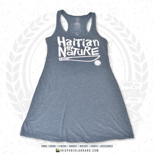 "Hispaniola Port & Trade Company   ""Haitian By Nature"" Heather Navy White Premium Tri-Blend Summer Dress"