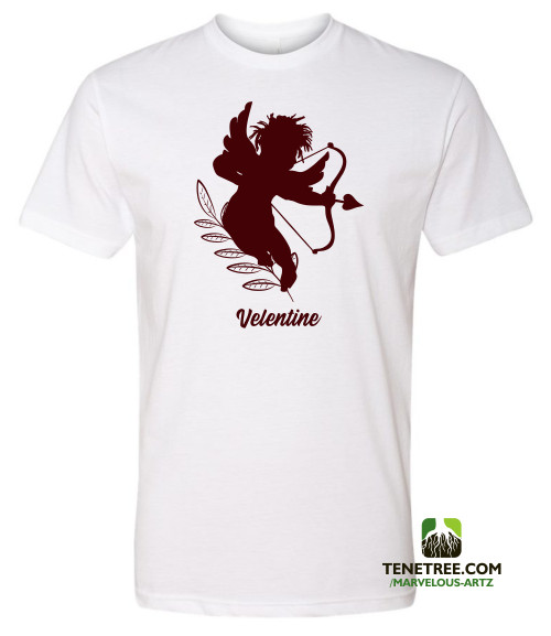 "Marvelous Artz - ""Velentine"" Tees White Burgundy Red Front"