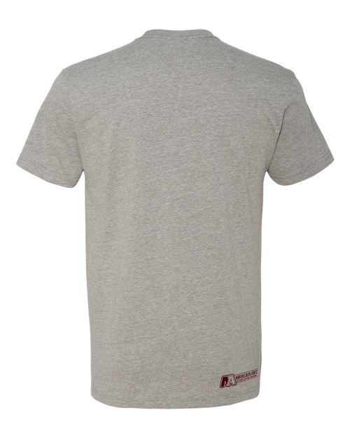 "Marvelous Artz - ""Velentine Logo"" Tees Heather Grey Burgundy Back"