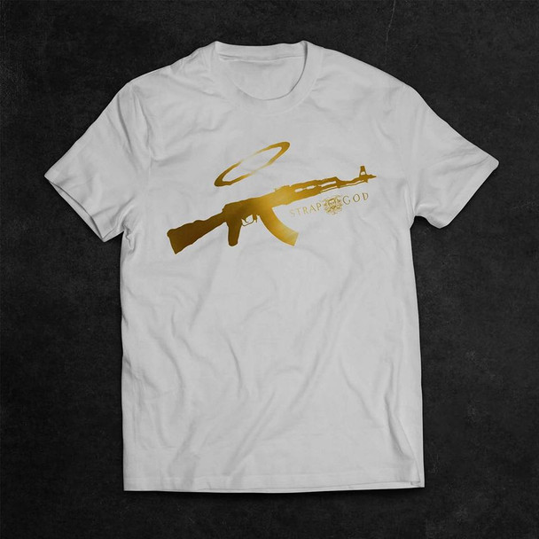 Mginati Brand | Strap God Special Edition White&Gold Tee