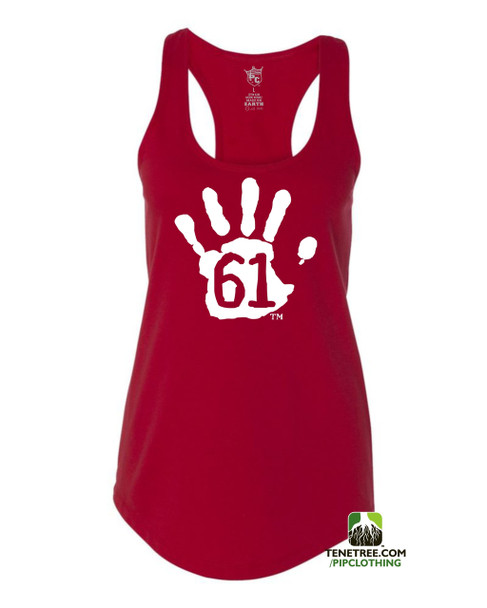 PC RUH Hand61 Ladies Red Scalloped Racerback Tank