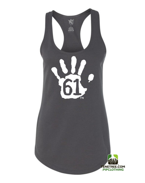 PC RUH Hand61 Ladies Charcoal Grey Scalloped Racerback Tank