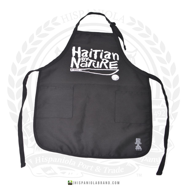 "Hispaniola Port & Trade Company | ""Haitian By Nature"" Black White Apron"