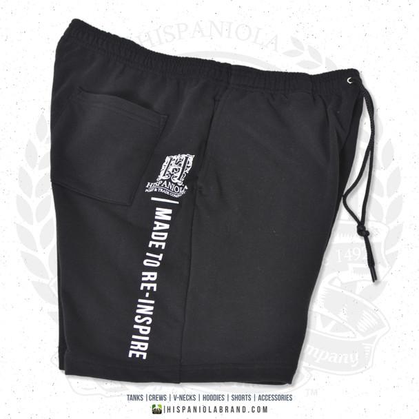 "Hispaniola Port & Trade Company | ""Haitian By Nature"" Black White Premium Unisex Cotton Fleece Shorts"