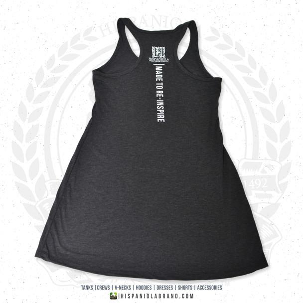 "Hispaniola Port & Trade Company | ""Haitian By Nature"" Heather Black White Premium Tri-blend Summer Dress"