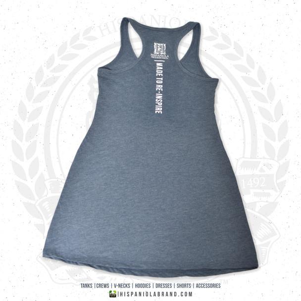 "Hispaniola Port & Trade Company | ""Haitian By Nature"" Heather Navy White Premium Tri-Blend Summer Dress"