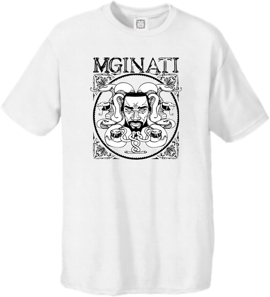 MGINATI THREADS COLLECTIONS WHITE BLACK CIRCSQUARE TEE