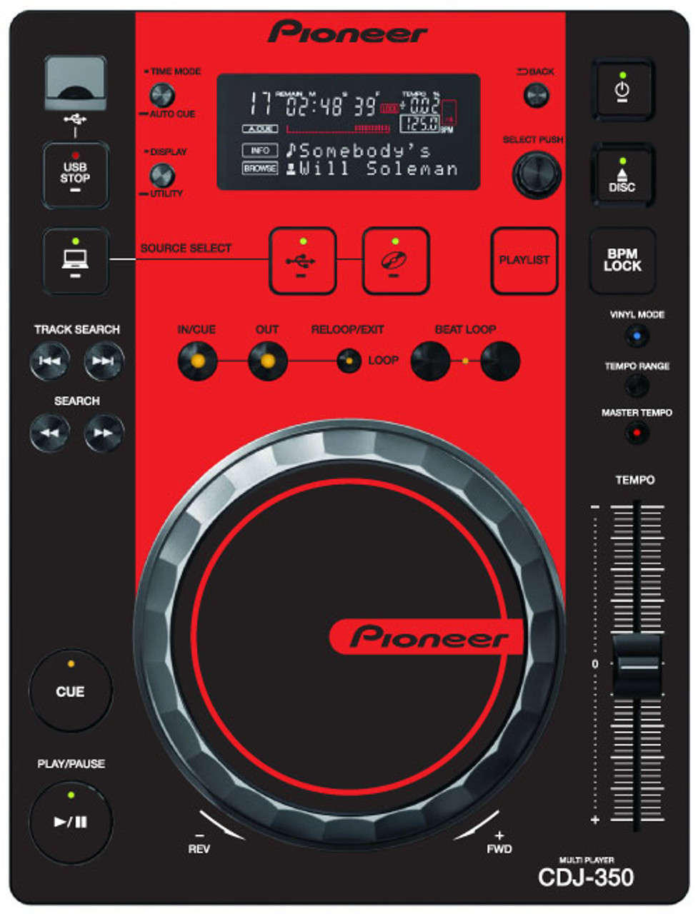 Pioneer CDJ-350 - Black-Red