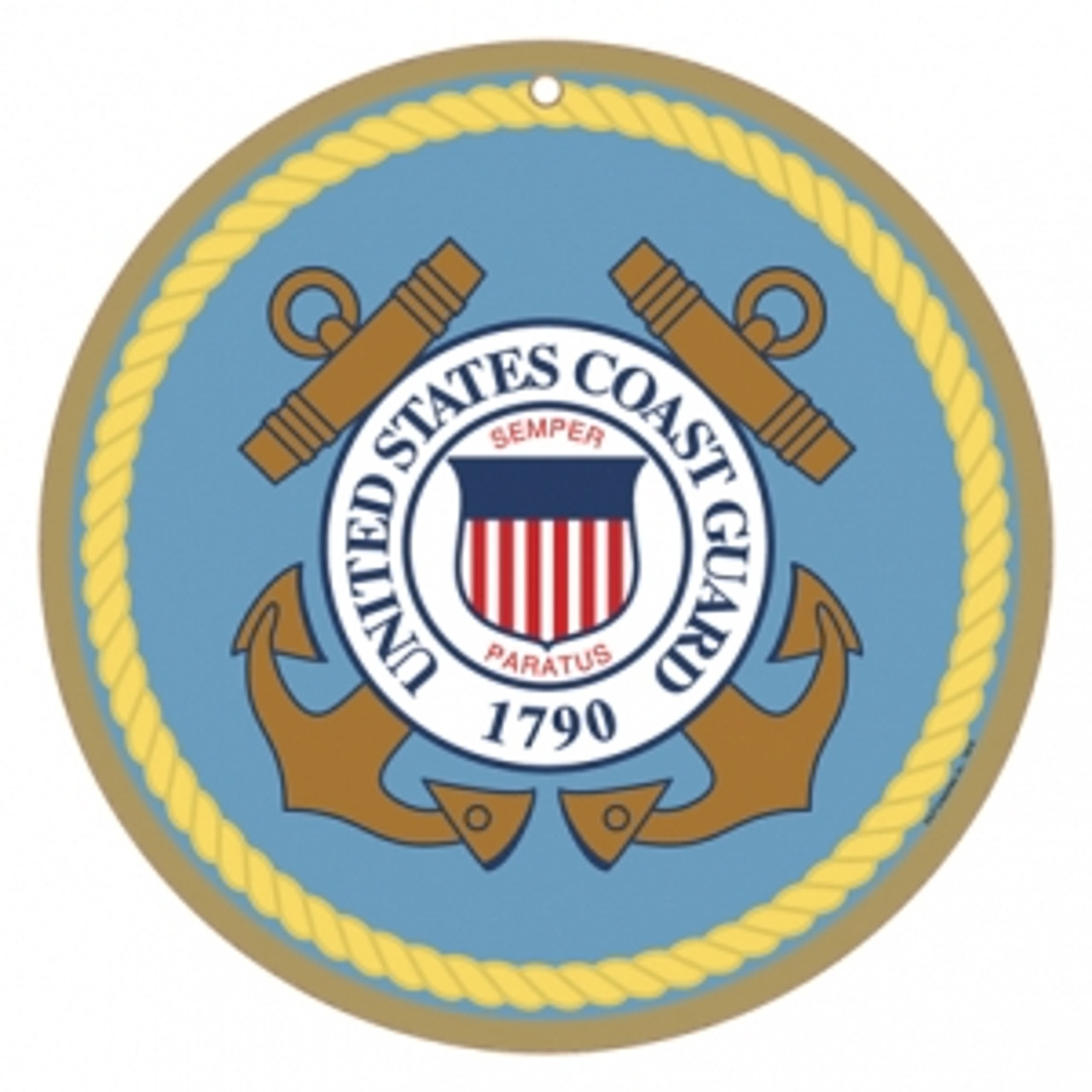 """10"""" Round US Coast Guard Logo Wooden Sign (SJT15419"""