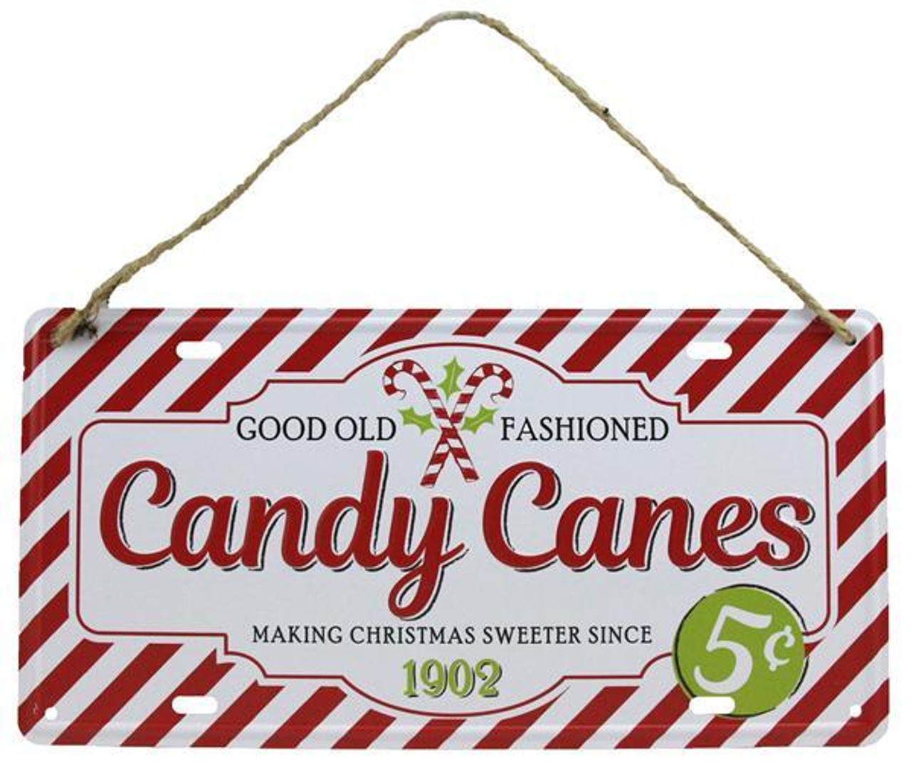 12 Tin Candy Canes Sign Md0385