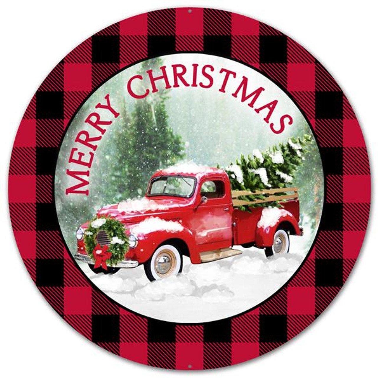 12 Quot Metal Vintage Truck Merry Christmas Sign Md0443