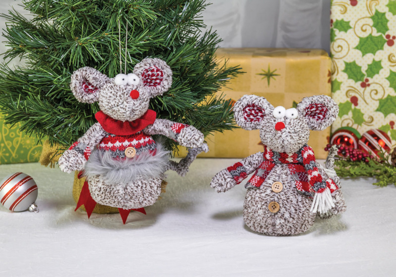 Christmas Mouse.Plush Christmas Mouse Ornament