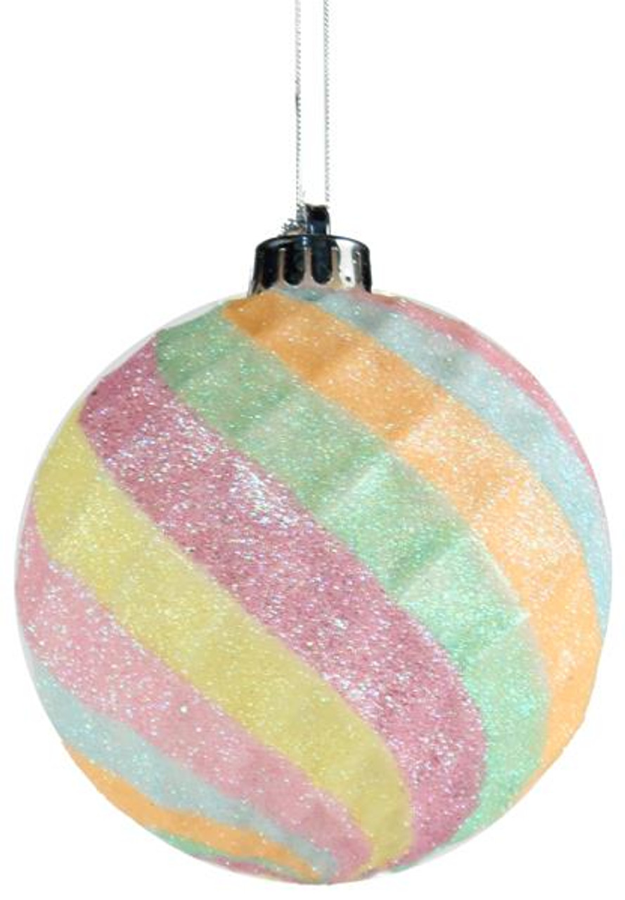 100mm Indented Diamond Ball Ornament Cotton Candy Xy5336rw