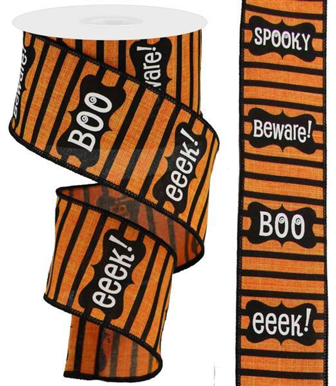 """1.5/"""" Orange Chenille Wired Edge Canvas Ribbon Halloween Spring- 2 Yards Fall"""
