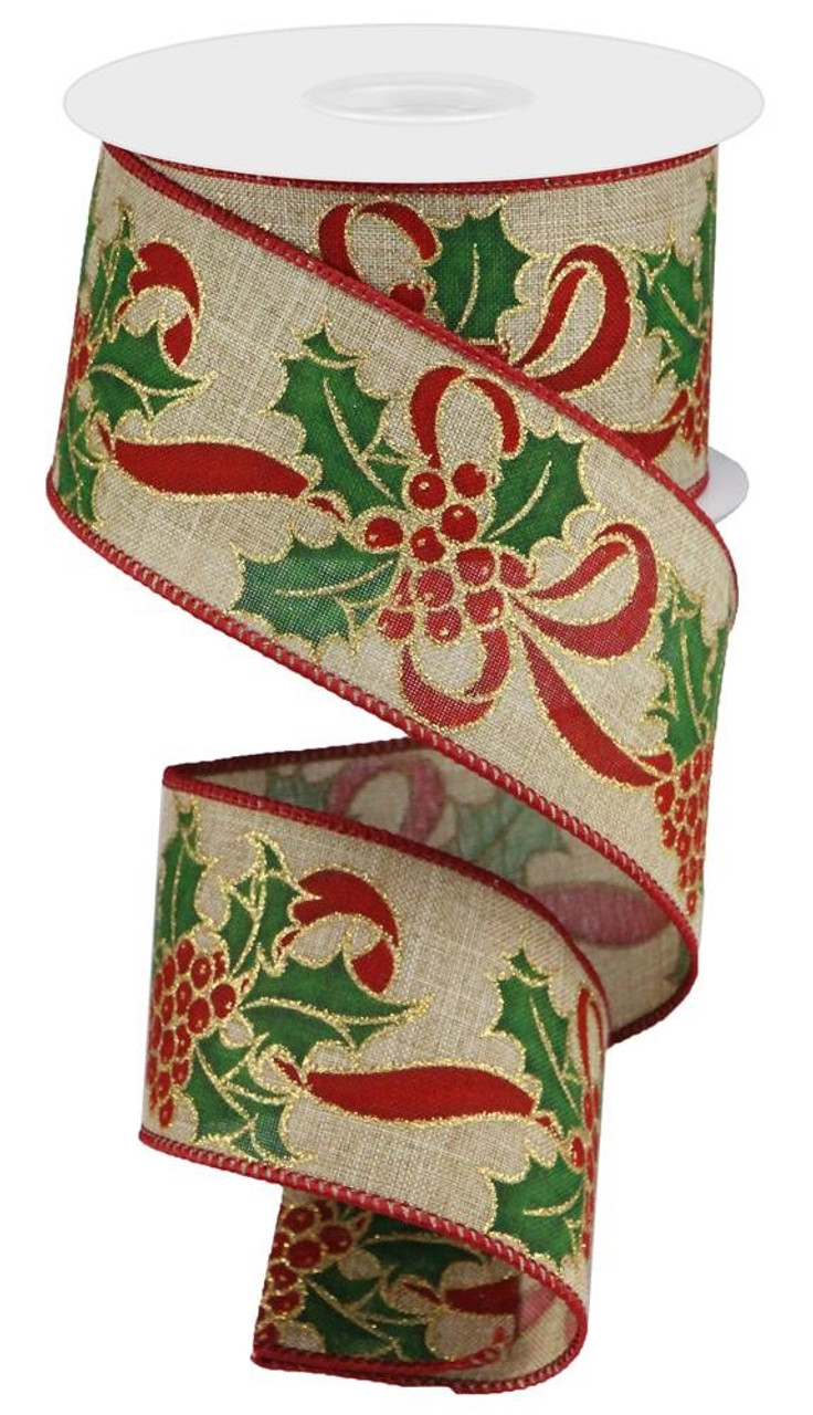 10-Yard Holly Berry Branch Printed Wired Christmas Ribbon
