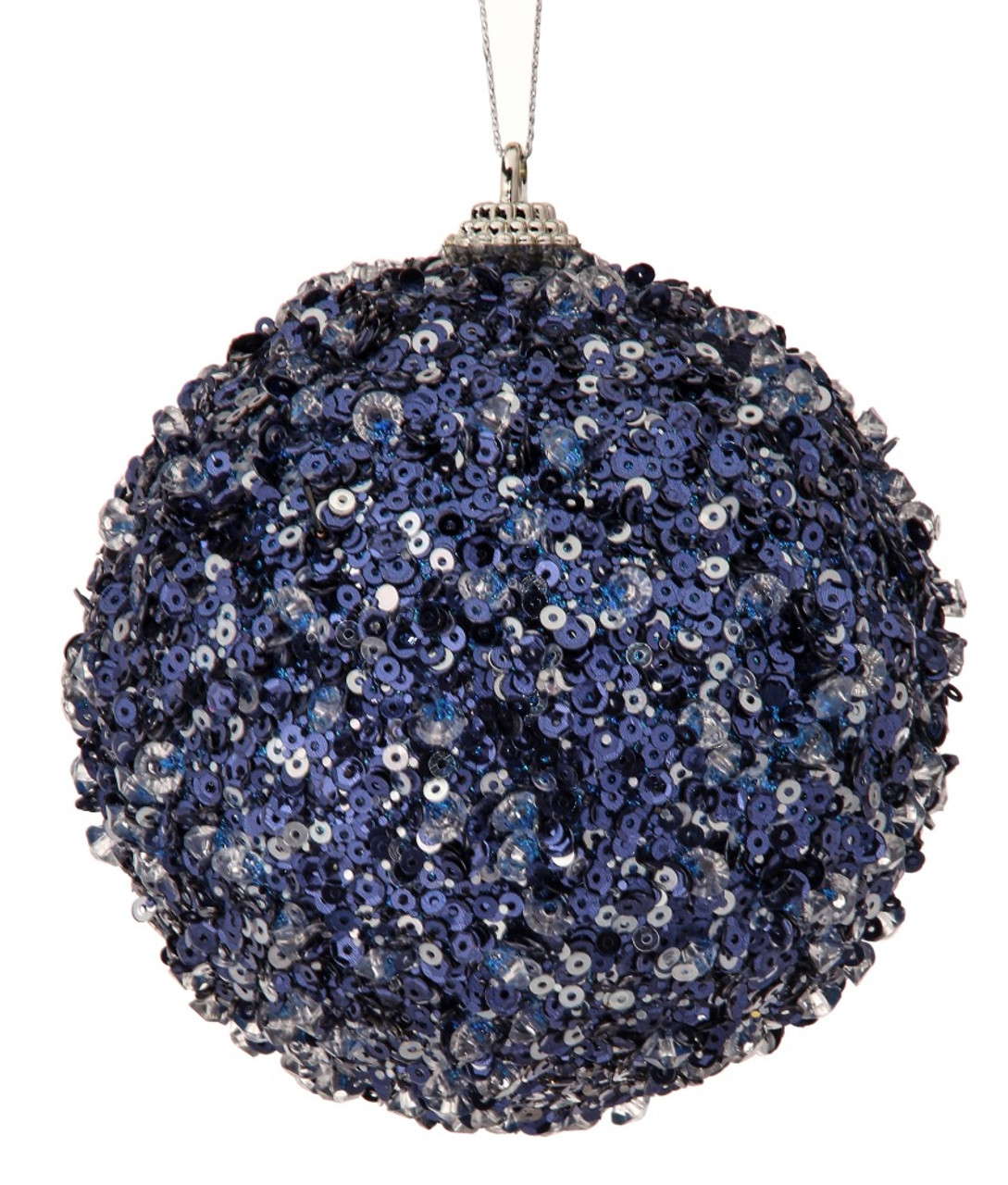 Blue Sequin Christmas Hanging Bauble Embroidered Xmas Decor Motif 88mm #11E15