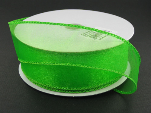 """1.5"""" Sheer Wired Ribbon: Lime Green (25yds)"""