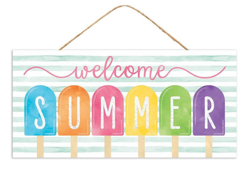 """12.5"""" Welcome Summer Popsicle Sign"""