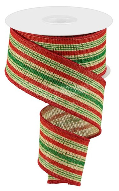 """2.5"""" Vertical Stripe on Faux Burlap Ribbon: Natural/Red/Emerald - 10 Yds"""