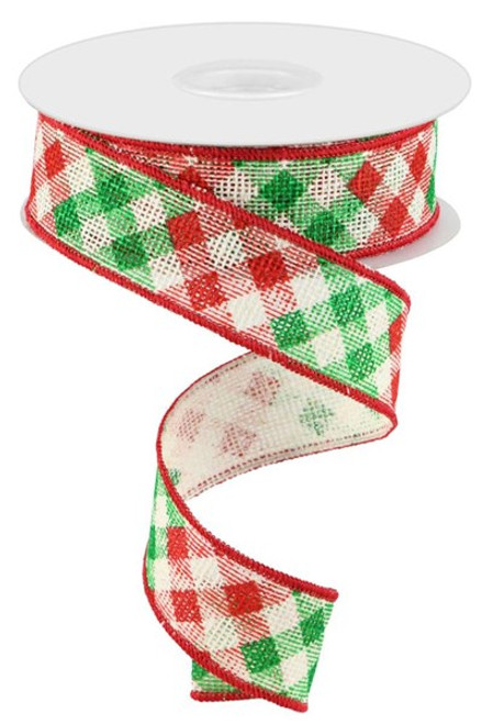 """1.5"""" Diagonal Check on Faux Burlap Ribbon: Off White/Red/Emerald - 10 Yds"""